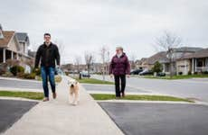 A man and older woman walk a dog in the suburbs