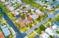 An aerial shot of a neighborhood