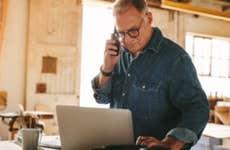 Business owner managing finances