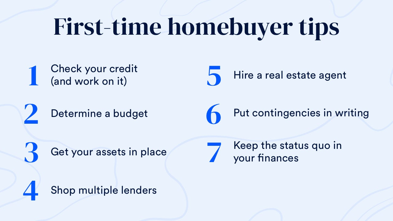 First-time homebuyer tips Step 1. Check your credit (and work on it). Step 2. Determine a budget. Step 3. Get your assets in place. Step 4. Shop multiple lenders. Step 5. Hire a real estate agent. Step 6. Put contingencies in writing. Step 7. Keep the status quo in your finances.