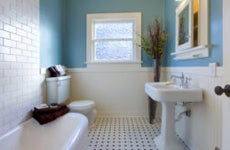 A newly renovated bathroom in a home in Tacoma, Washington