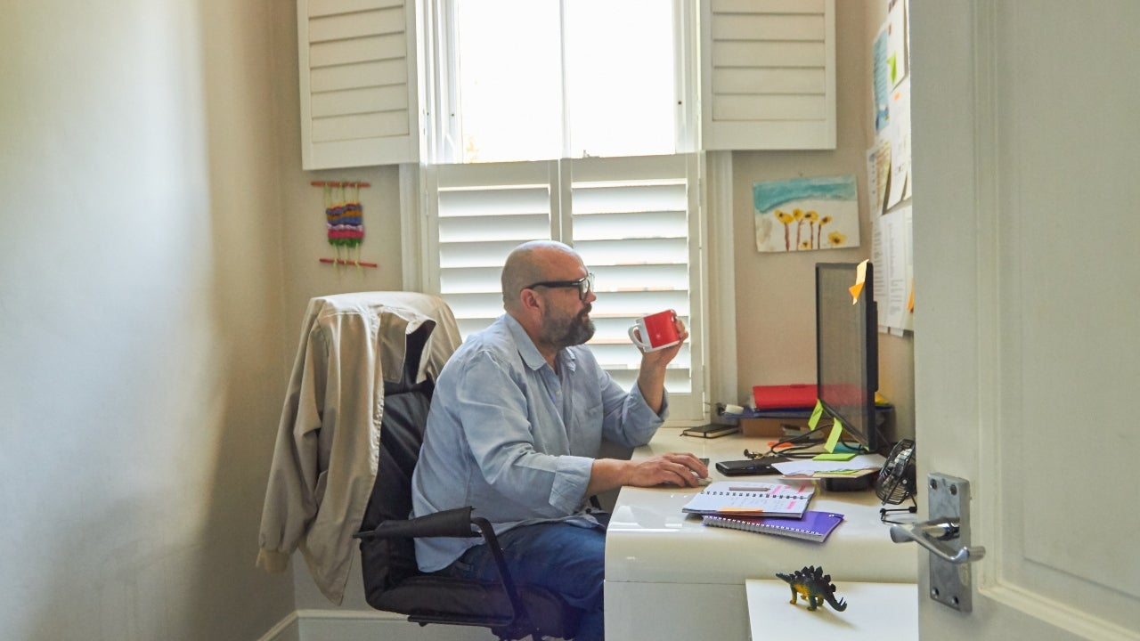 An employee in a home office