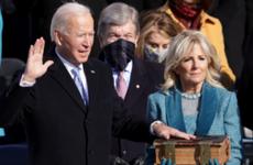 Joe Biden is sworn in as U.S. President as his wife Dr. Jill Biden stands beside him.