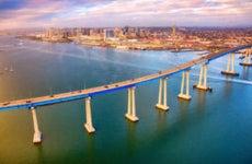 Iconic bridge leading into San Diego.