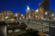 Provident, Rhode Island downtown at evening