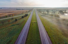Twin highways in the Nebraska countryside
