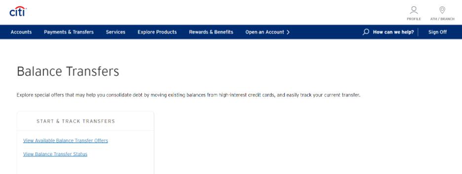 Screenshot of Citi's online