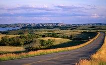 Empty stretch of road in North Dakota