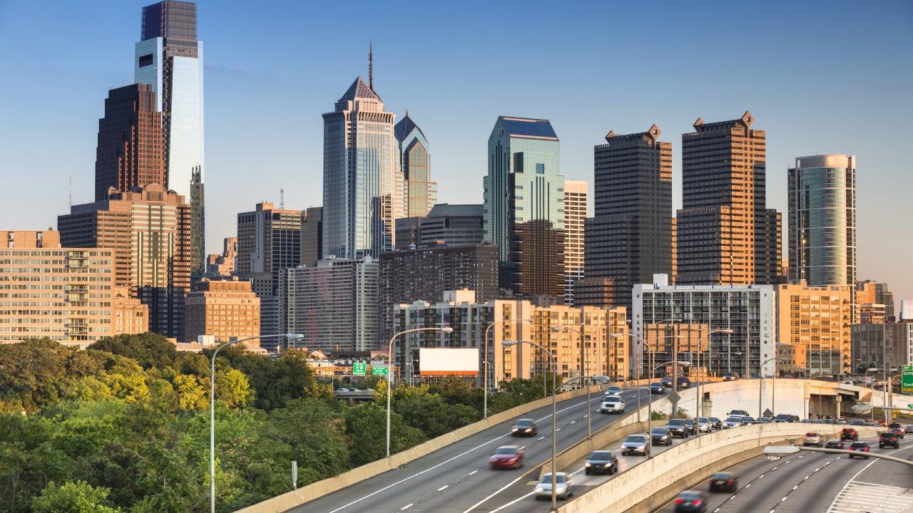 Busy interstate outside of Philadelphia