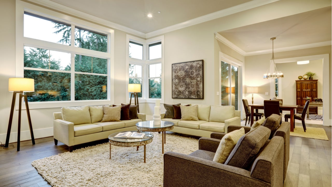 An open-floor plan home with living room