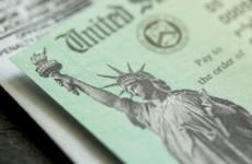 Close up of Treasury Department stimulus check