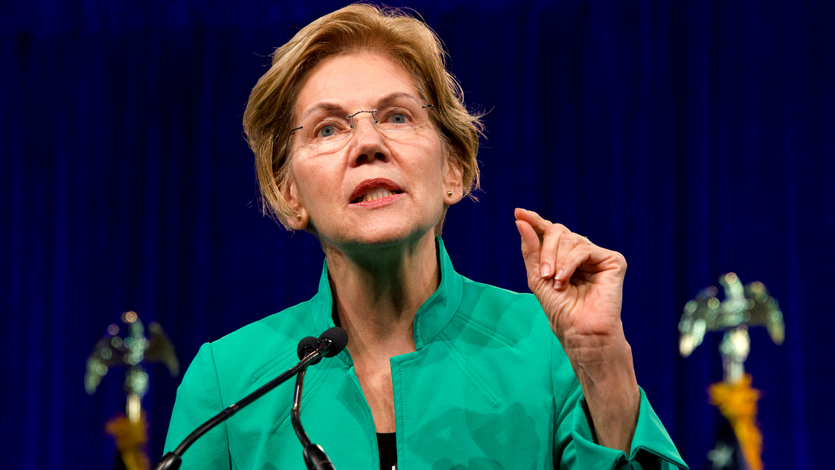 Presidential candidate Elizabeth Warren speaking at the Democratic National Convention