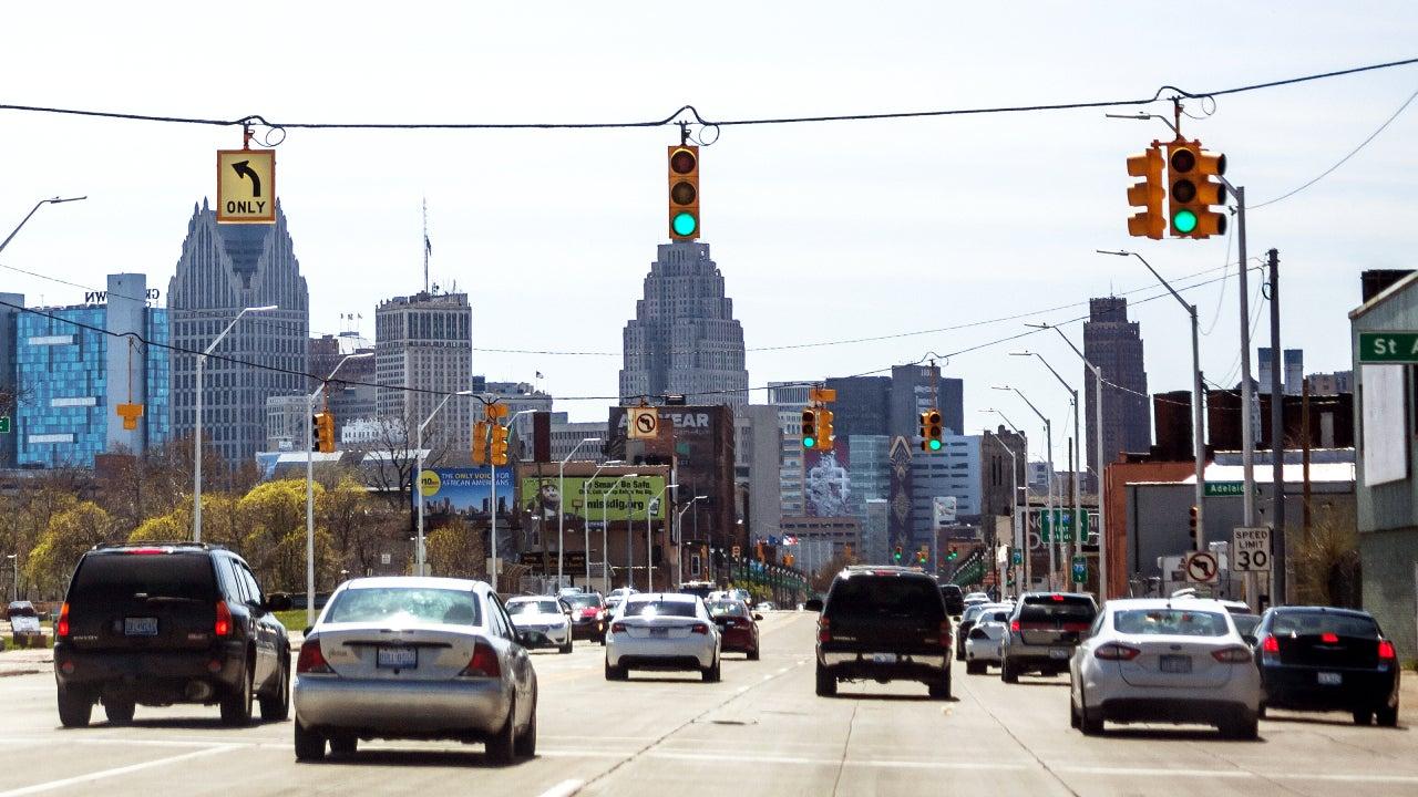 Traffic in downtown Detroit