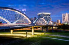 Iconic bridge outside of Fort Worth Texas at night