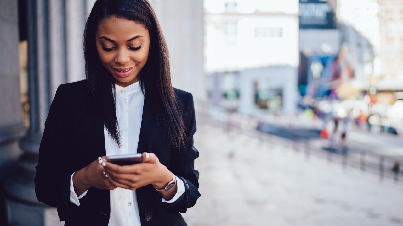Woman using a smartphone.