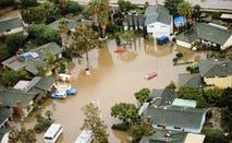 Residential area in California suburbs that has been flooded
