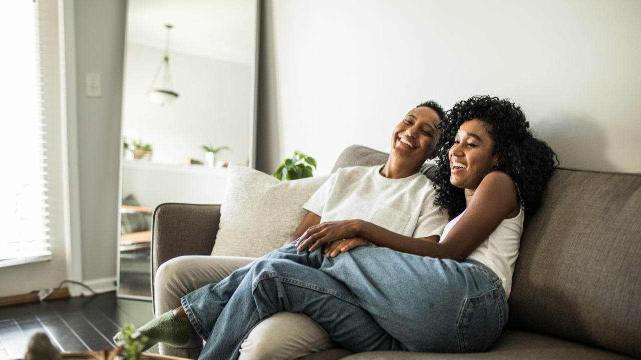 A black couple sitting together on the couch
