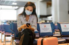 Woman sitting in airport