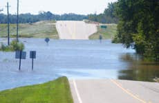 Flood On Road During Hurricane