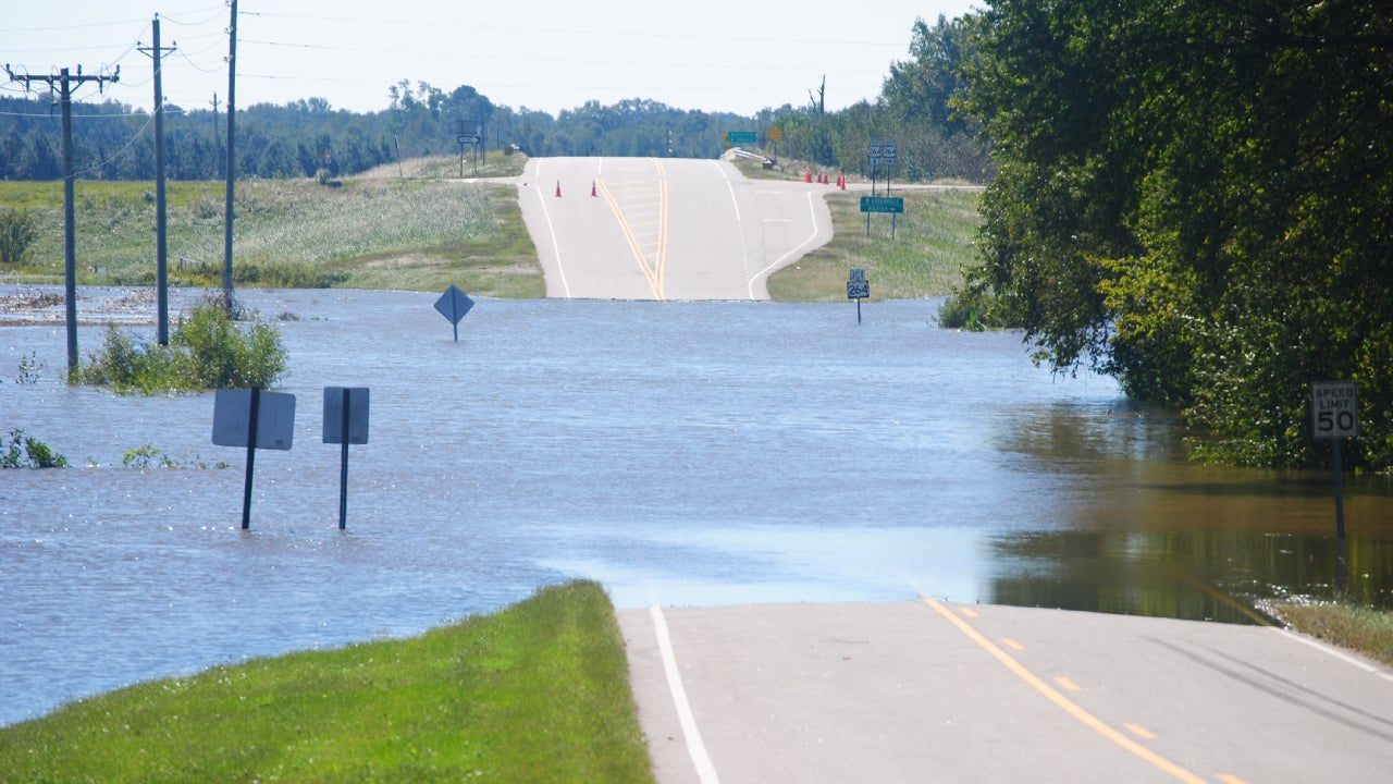 Flood On Road During Hurricane