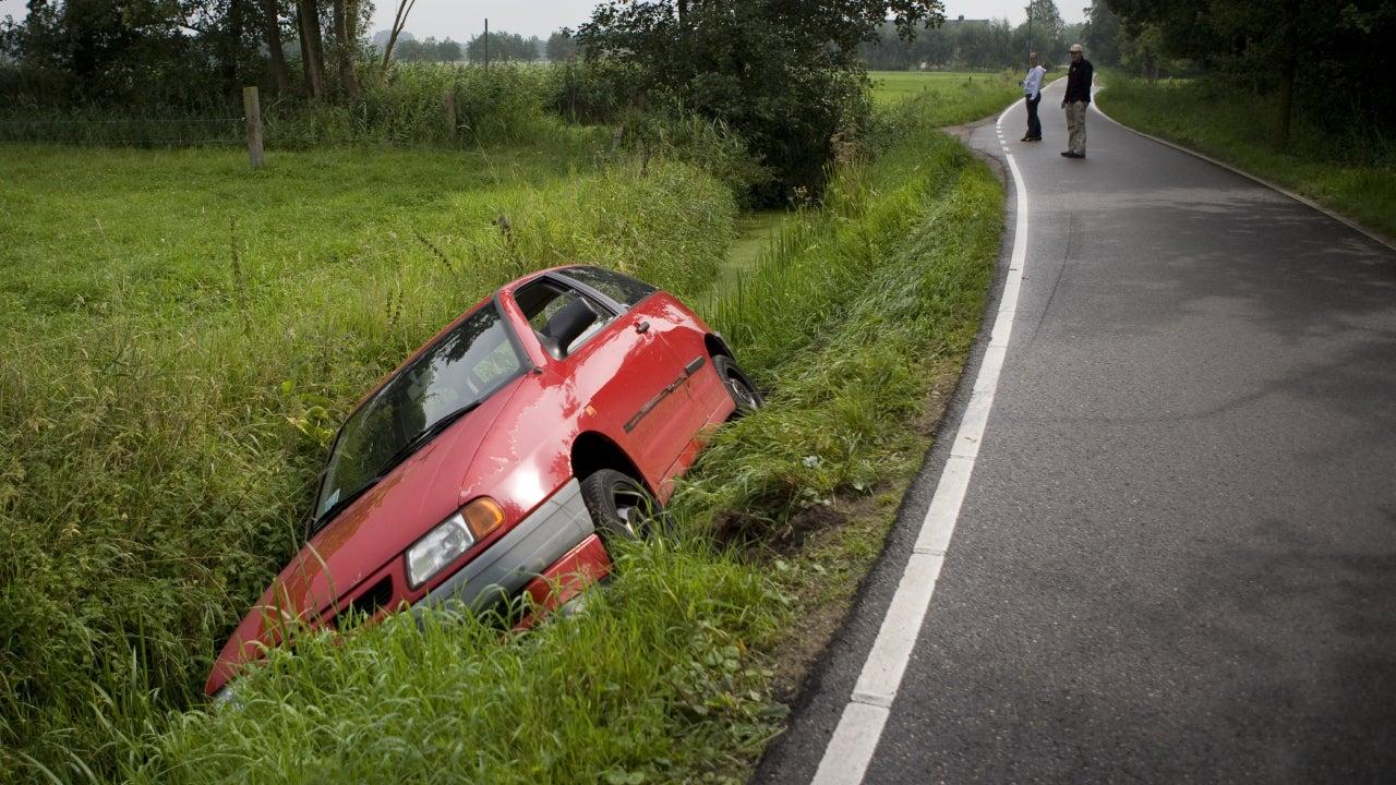 Car stuck in ditch