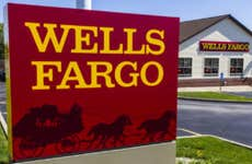 Wells Fargo sign outside of a retail bank branch