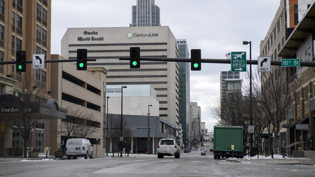 Downtown street of Omaha, Nebraska, USA
