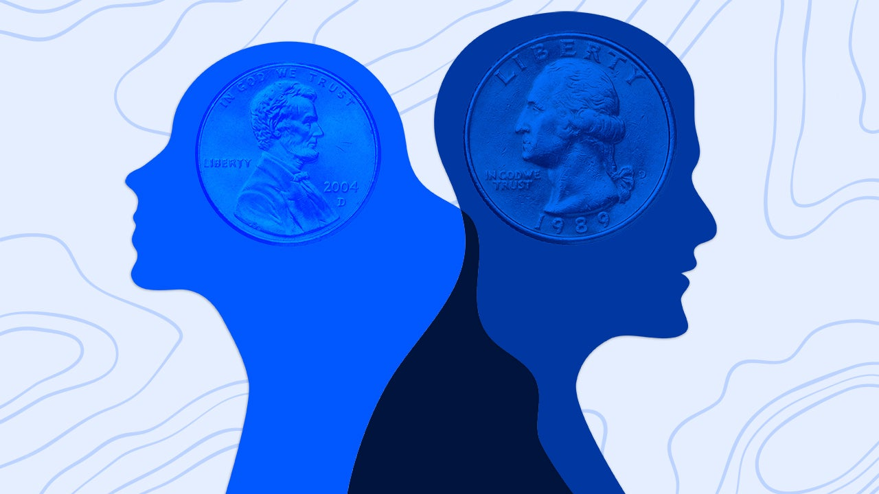 Photo illustration of man and woman with money.