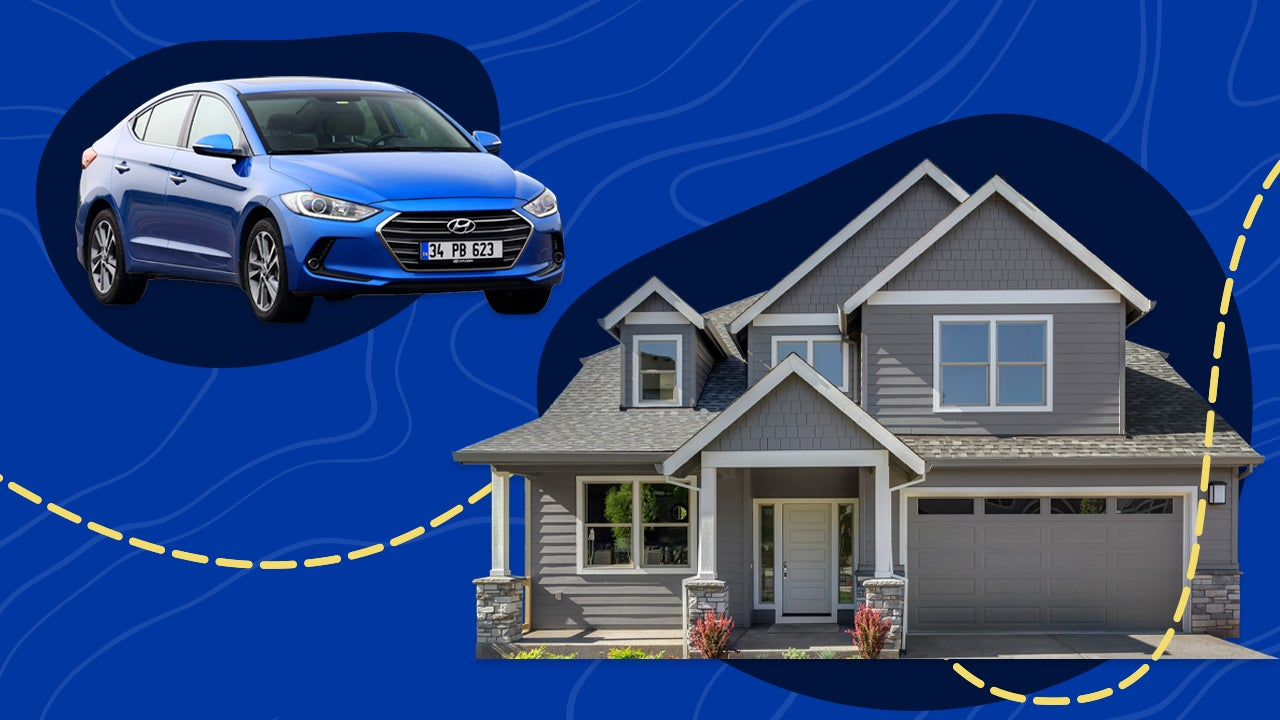 Graphic with a car and a home