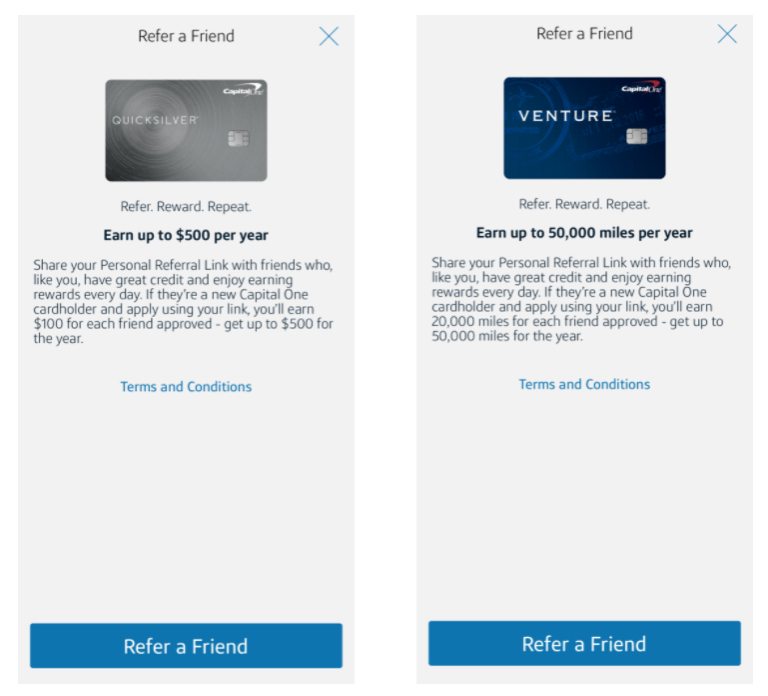 Some of Capital One's friend referral bonuses