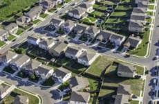 San AntonioTexas suburban housing development neighborhood - aerial view
