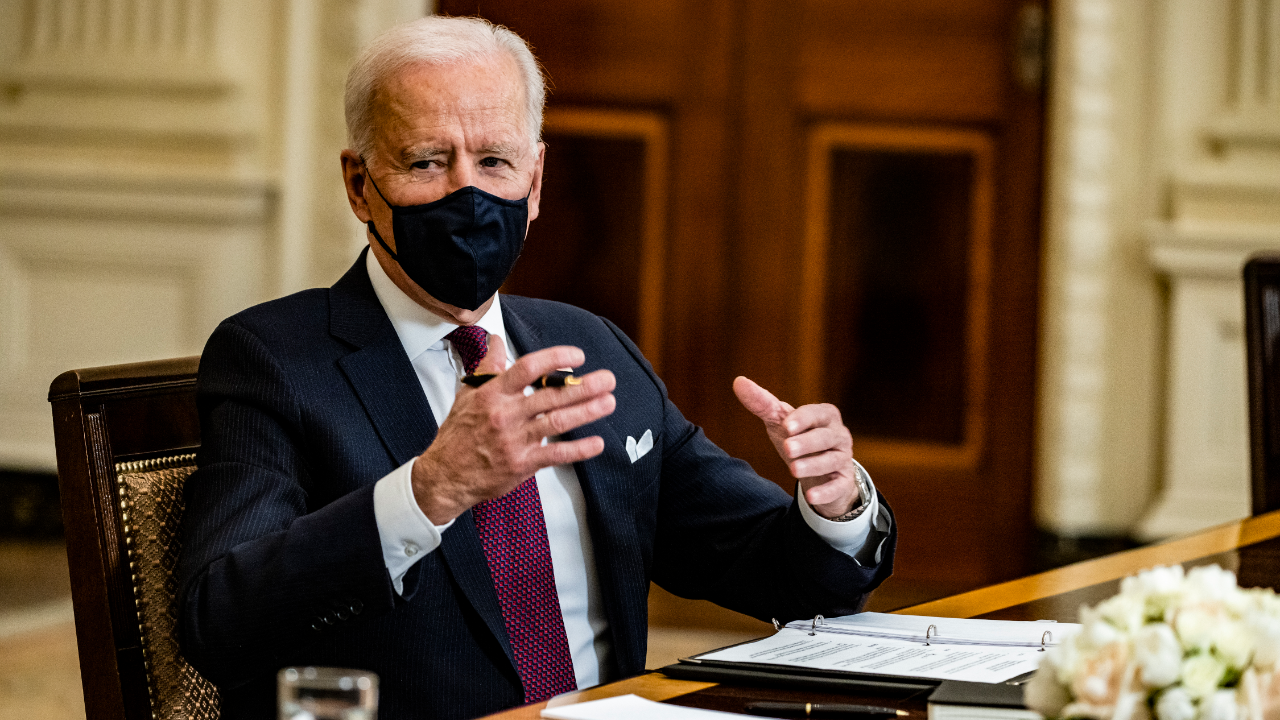 President Joe Biden speaks during a roundtable meeting with Americans who will benefit from the COVID-19 pandemic relief checks.