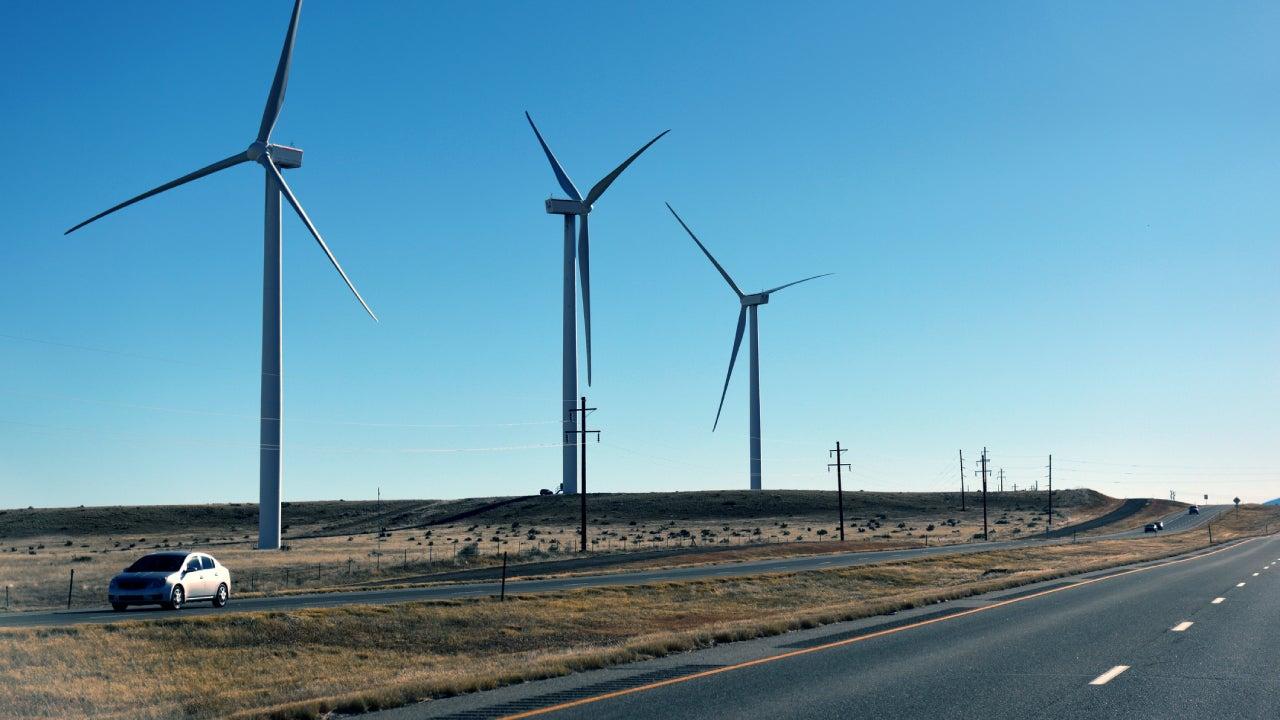 Wind turbines at Pueblo, Colorado, USA