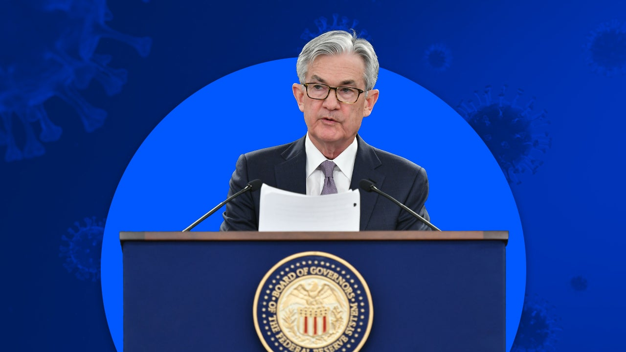 Federal Reserve Chairman Jerome Powell speaks at press conference illustration