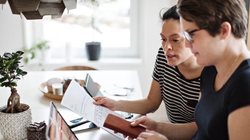 Lesbian couple doing their taxes