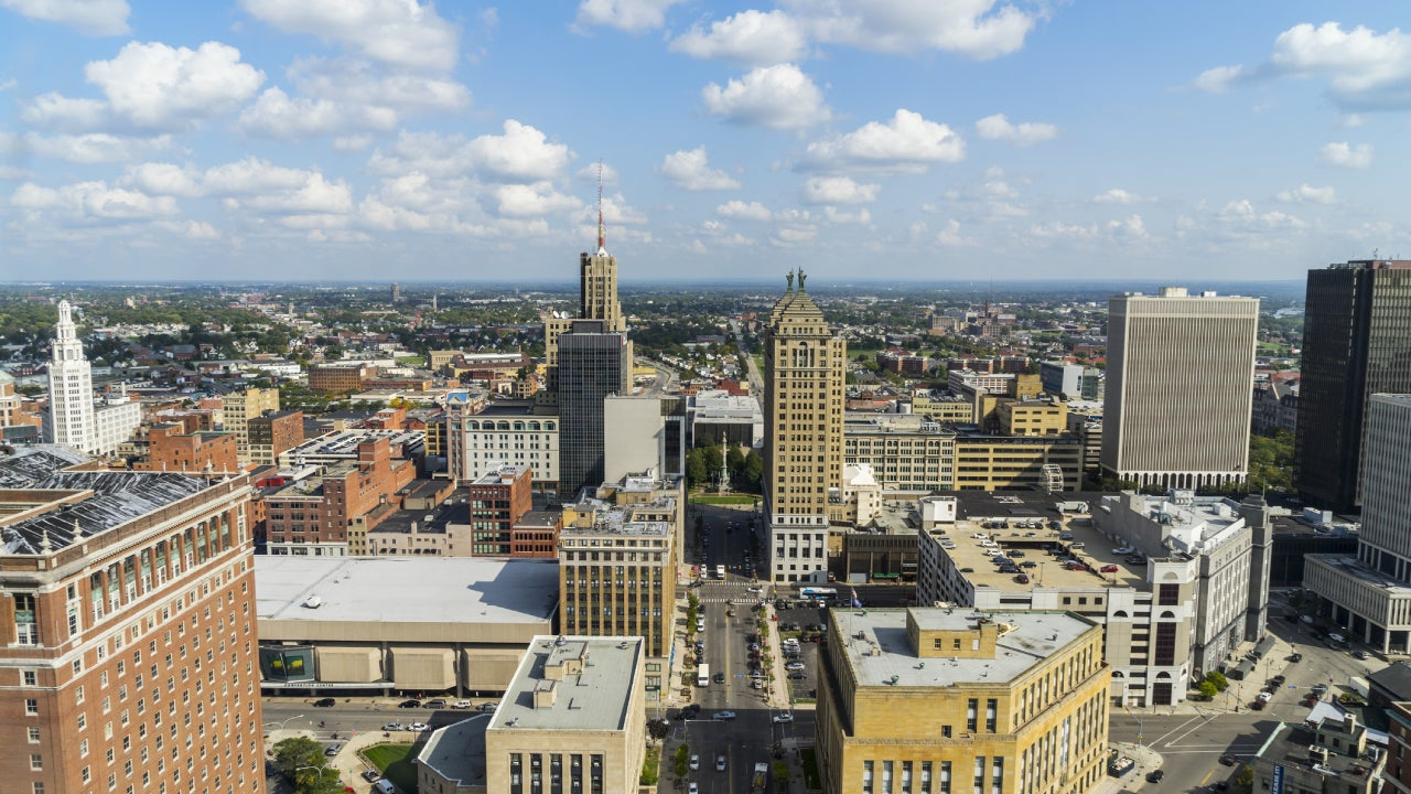 Buffalo, New York Aerial View Downtown