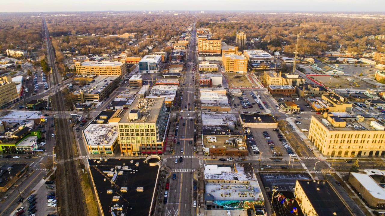 An aerial view of downtown Royal Oak, Michigan