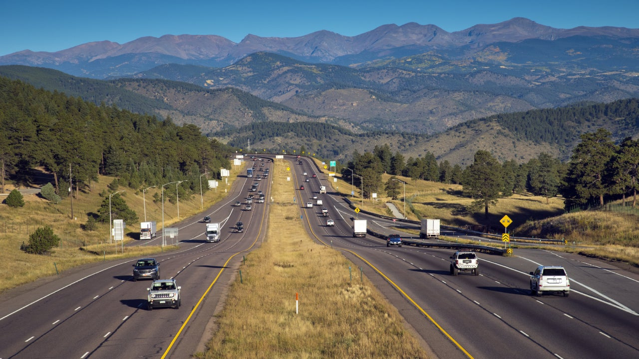 Route 70, Vehicles Moving East And West, Rocky Mountains, Genesee, Colorado