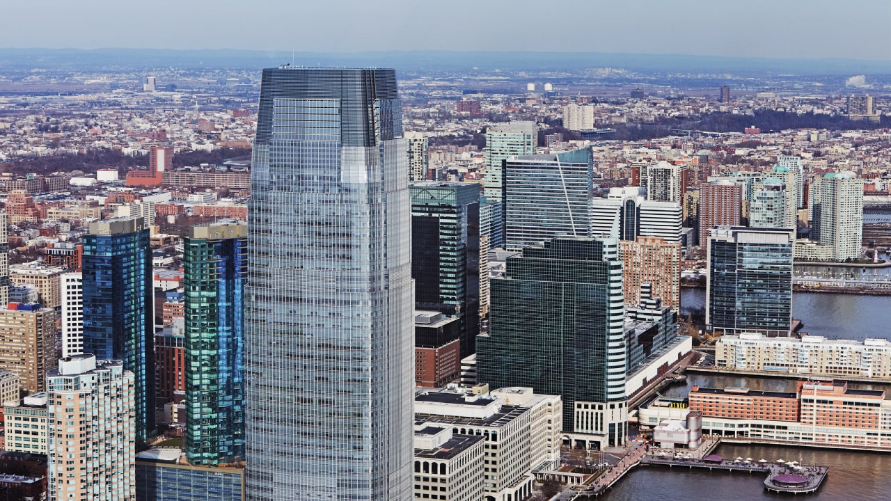 Aerial view of Paulus Hook in Jersey city with Goldman Sachs Tower