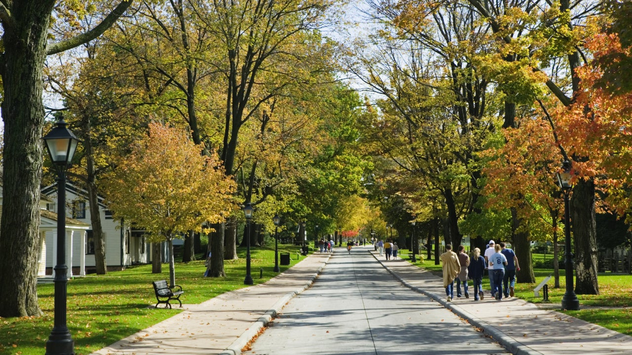 People Strolling on Sidewalk Through Neighborhood