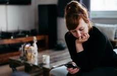 Woman checking cellphone