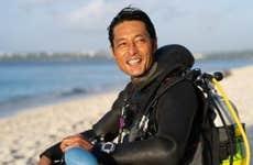 Diver's portrait at the beach
