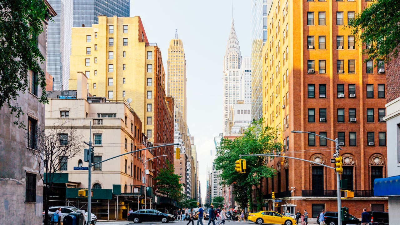 Lexington Avenue and Chrysler Building in New York City, USA