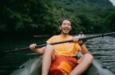 Man kayaking in scenic location