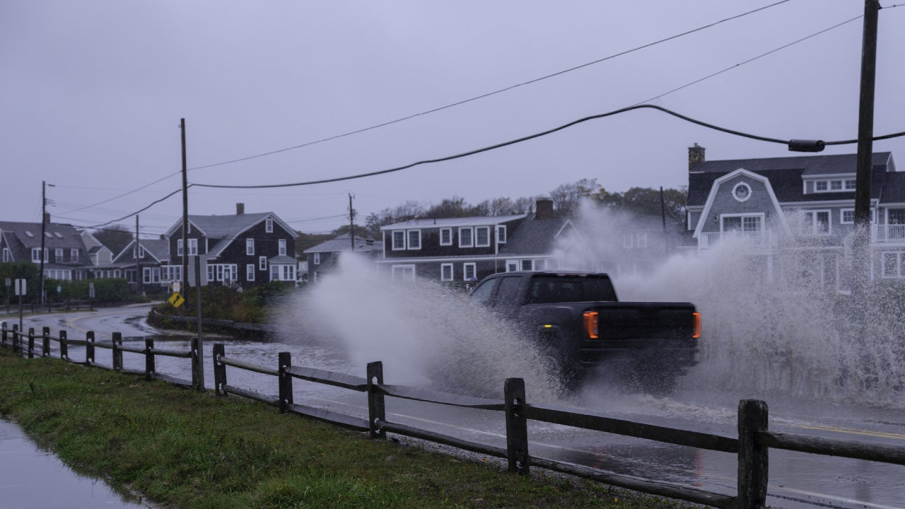 Charging Through Flood Waters on Beach Road