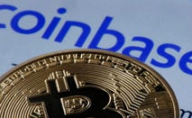 A picture of a bitcoin and the Coinbase logo