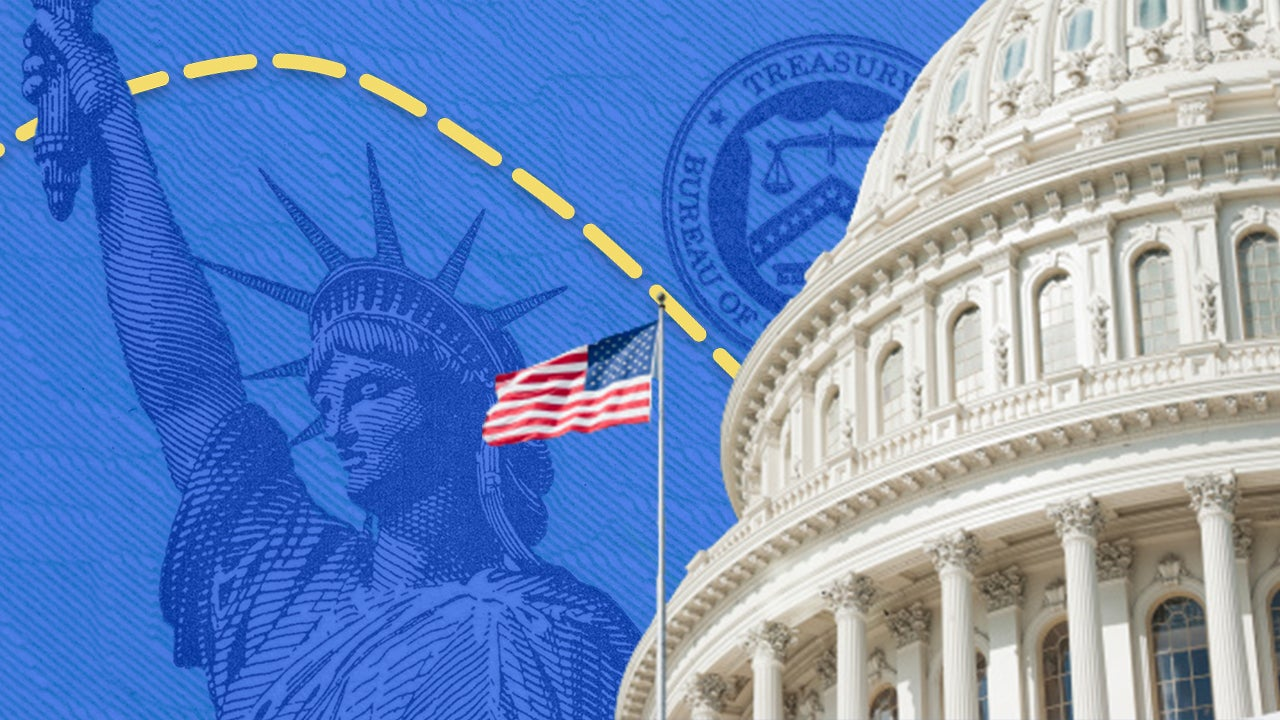 Illustration of Capitol Hill rotunda and coronavirus stimulus checks