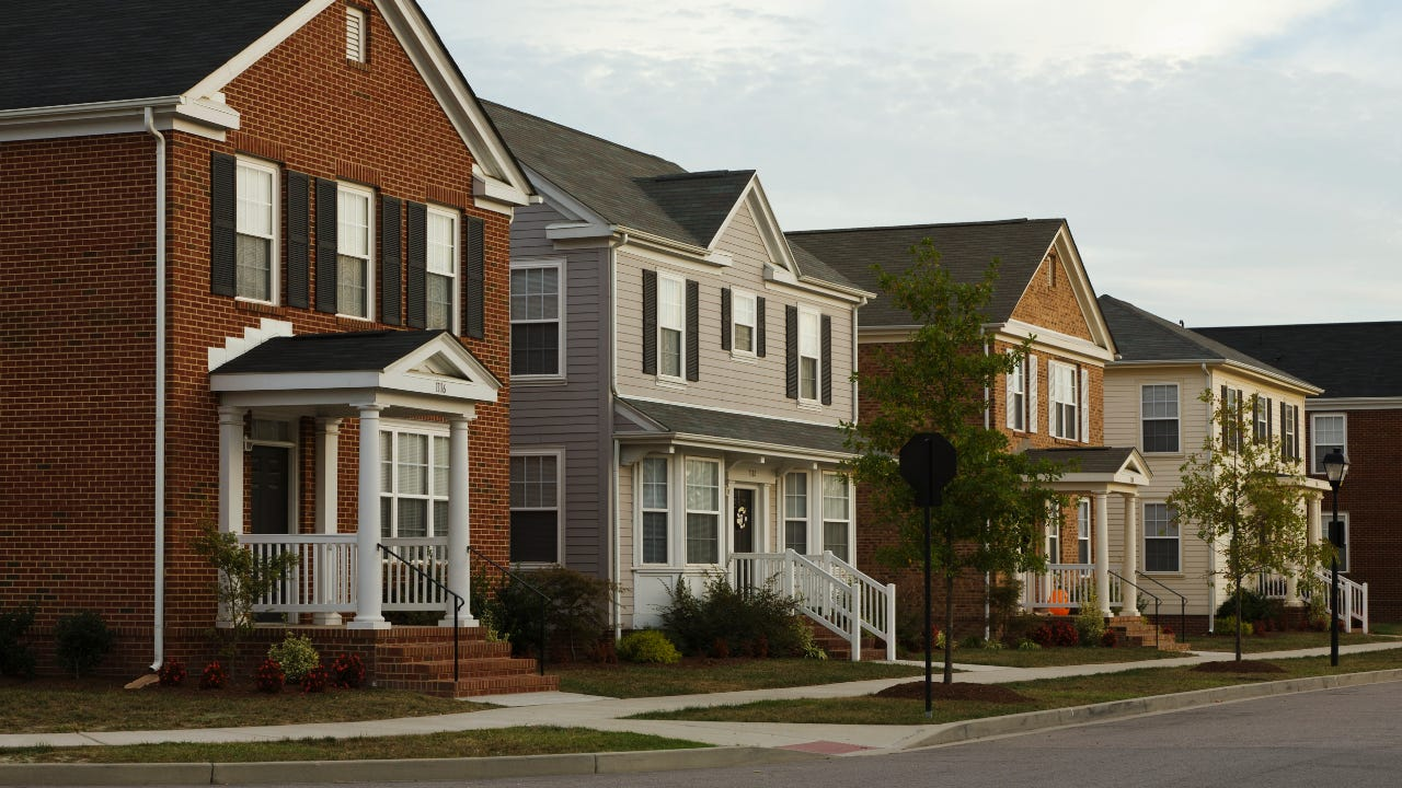 A row of houses in a subdivision