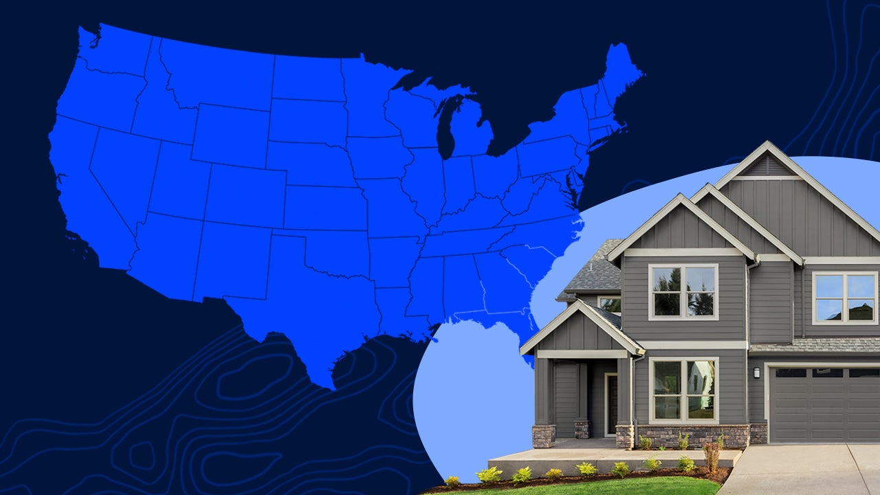 A graphic with a house and map of the U.S.