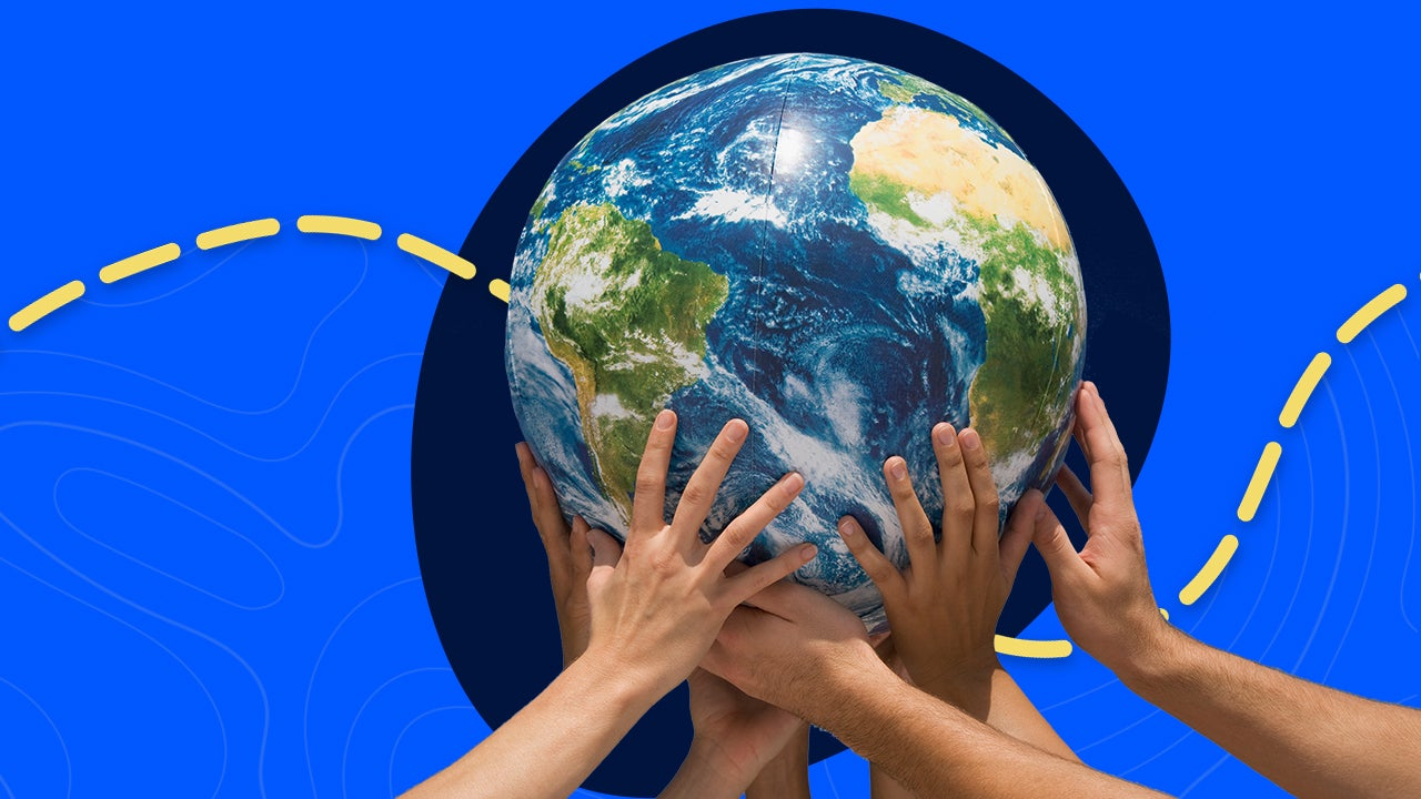 Illustration of hands holding up Earth